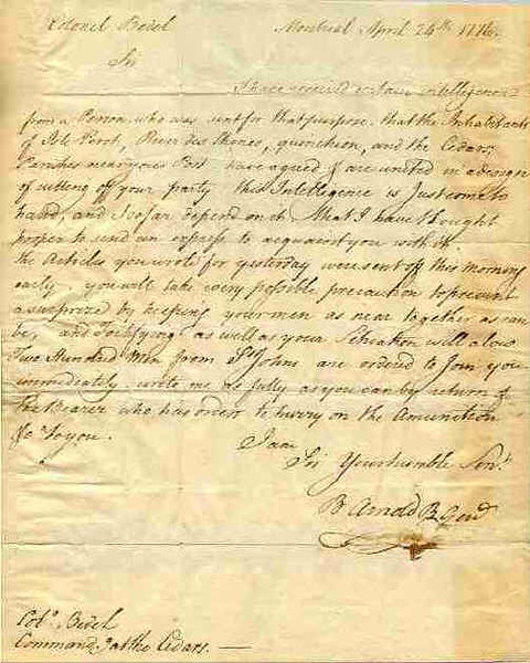 Letter from Benedict Arnold to Colonel Bedel. Arnold was in overall command in Canada, and Bedel was sent by him to act as an outpost to guard against British troop movements coming from the west.