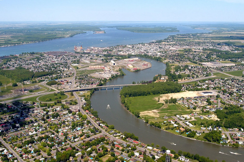 Aerial view of Sorel, with the city center situated on the far bank of the Richelieu where it joins the St. Lawrence.