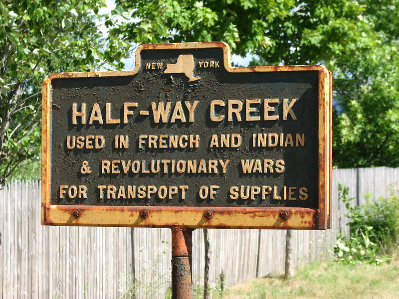 """Historical marker at Half-Way Creek, just north of the Village of Fort Ann, along Rt 4.<br /> More info on the marker at:  <a href=""""http://www.hmdb.org/marker.asp?marker=58086"""">http://www.hmdb.org/marker.asp?marker=58086</a>"""