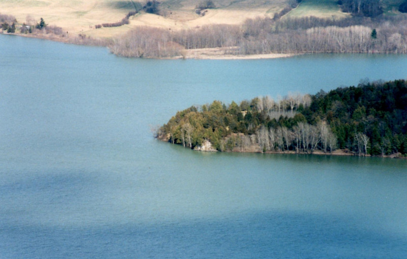 "View from the summit of Mount Defiance across the lake to Mount Independence, site of an American defensive position. Note ""Masting Rock"" (search for my gallery on this) which appears at the shoreline near the tip of the peninsula. It was there that the masts were stepped for Arnold's fleet."