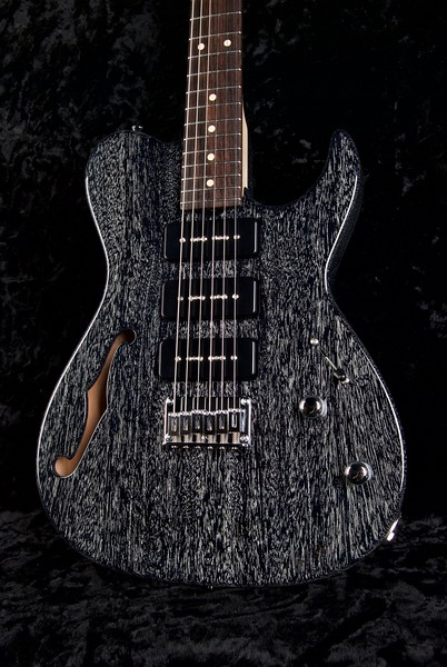 Retro Classic Hollow T #3613, Black with White Grain Fill, Grosh G-90 pickups