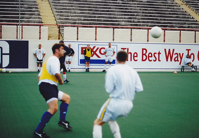 Defender Bret Houck (left). At 6-4, he was one of the biggest players the Shadow had on the squad. Chad Brown, Stuart Saunders, Zach Kingsley and Craig Waibel watching from the wall.