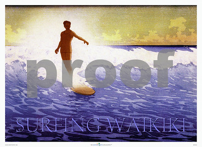 "016: 'Surfing Waikiki: The Duke.' - An old Bartlett woodblock print in Japanese hanga style with an image of the famous Waikiki surf and some great surfing by Hawaii's 'Ambassador of Aloha' Duke Kahanamoku aka ""Da Duke"" surfing on his longboard. PROOF watermark will not appear on your print."