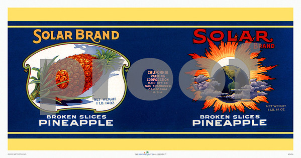 045: Solar Brand - Pineapple Can Label. Ca 1940's, showing the entire wrapping label for Solar Brand Broken Slices Pineapple with an interesting image of a sun and earth lineup complete with space clouds and lots of solar flares—vintage science at its best and no doubt creating ideal circumstances for Hawaiian pineapple growth, as evidenced by the big juicy pineapple picture. These types of vintage Hawaiian pineapple prints and posters make great additions for any kitchen or dining area with or without a Hawaiian or tropical island theme. Sure to invoke shouts for a certain kind of desert. PROOF watermark will not appear on your print.