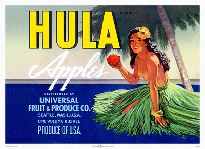 058: 'Hula Apples' Vintage Hawaiian product Label, 1950's, with topless hula dancer ready to bite in a juicy Hula Apples brand apple.