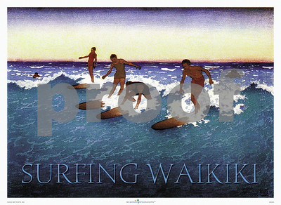 029: 'Surfing Waikiki,' from a Bartlett Woodblock print. ca 1930's, showing Waikiki surfers in action on their classic longboards in the first half of the last century against the backdrop of a Pacific sunset. Hawaiian Days is the premier publisher of vintage Hawaiian surfing prints and surf posters, such as 'Surfing Waikiki.' Please, note that the PROOF watermark will not appear on your print.