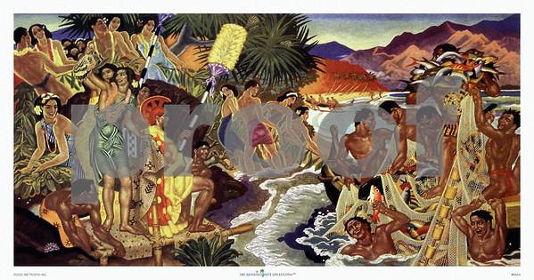 "065: Eugene Savage ""Festival of the Sea"" Hawaiian Cruise Line menu Illustration, ca. 1948"
