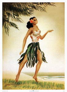 034: Hula Dancer by Gill from the 1940's. The art of the never fully identified artist Gill reflects a time period of Hawaiiana during which several artists began employing a method of airbrushed stenciling. Through layering complex textures Gill was able to capture the grace and beauty of the Hawaiian wahine. This early airbrush painting helped establish the artist Gill (also known as the artist Gil, or Eric Gill) as a prominent Hawaiian airbrush artist.