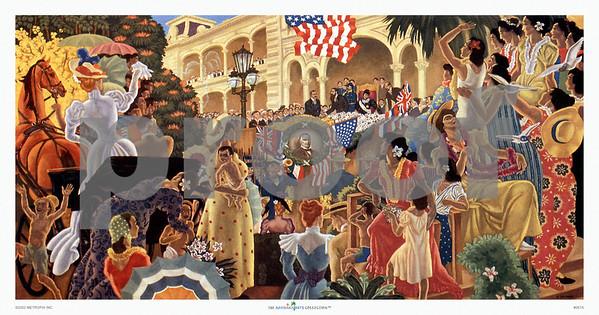 067: Eugene Savage: 'Hawaii's Decisive Hour' Hawaiian Cruise Line menu Illustration, ca. 1948.