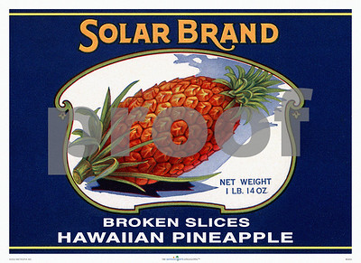 "046: Solar Brand Pineapple can label. Ca 1946, showing old Hawaiian pineapple illustration against a dark blue background. These antique Hawaiian pineapple can labels are great choices for tropical theme kitchens and dining rooms, as well as the walls of your basement or poolside tiki bar. This vintage fruit label print is one part of a complete label featured on the previous page. The watermark ""PROOF"" will not appear on your print."