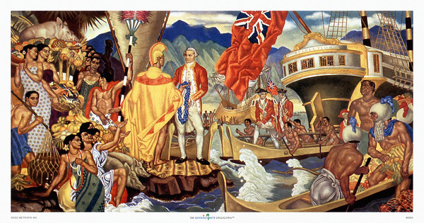 "066: Eugene Savage ""A God Appears""  Eugene Savage was the artist who created several large murals that ended up as menu illustrations on board of famous ocean liners ss. Matsonia and ss. Lurline, ca. 1948."