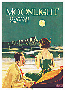 021: 'Moonlight - Hawaii and You' - Cover of Sheet Music Song Book, published by Aloha Publishing Co., Honolulu, ca 1922. Words: William G. Chalmers Music: Bert Carlson Artist: William Gillies.