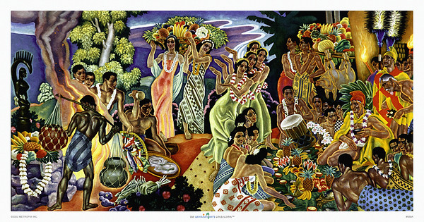 068: Eugene Savage 'Island Feast' Vintage Hawaiian cruise liner menu illustration (ca. 1948).
