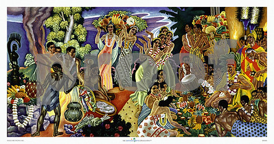 068: Eugene Savage 'Island Feast' Vintage Hawaiian cruise liner menu illustration (ca. 1948).