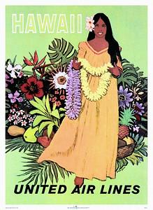 022: United Airlines Poster, Ca 1955. - This United Airlines Hawaii poster captures everything Hawaii is all about and appears as relevant today as it was back in the Fifties.