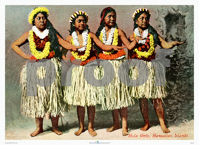 "035: Vintage Hula Dancers Postcard, ca. 1915. Charming picture of vintage hula girls from the days of hand-colored postcards and photographs. No doubt these girls and their mothers made many a sailor decide to jump ship and start a grass shack of his own. That's what's so great about Hawaiiana: there's a story in every picture. His story. Her story. Their story. Our story. They're all about falling in love and finding a spot to make your bed. Why not make these girls immortal with a place in your bedroom, den, or guest room? (The watermark ""PROOF"" will not appear on the print)"