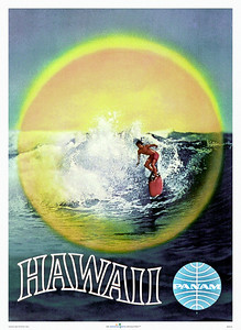 063: Vintage Hawaiian Pan Am Poster - Travel Agency airline wall poster with surfer and PanAm logo. Ca 1957.