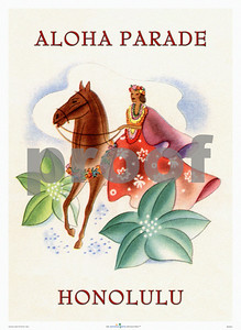 096: Frank Macintosh, 'Aloha Parade Honolulu' Illustration for an ocean navigation company brochure. Ca. 1945. (PROOF watermark will not appear on your print)