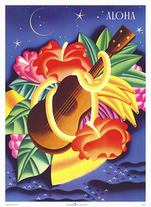004: Frank Macintosh: 'Aloha Ukulele.' - You may have seen this retro art deco Ocean Navigation Company steam ship menu from ca. 1940 before as it is arguably one of Frank Macintosh's most popular designs, combining a ukulele, a flower lei, Hawaiian fruits and flowers into a romantic display that screams 'tropical Hawaiian paradise!'
