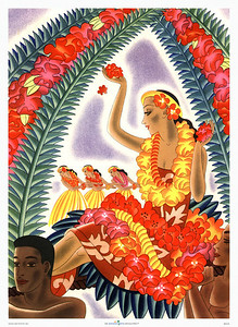 003: Frank Macintosh: 'Lei Vendor' - Vintage Hawaii cruise ship menu art. Macintosh's lei vendor appears to be carried around on a float that also features three hula dancers and an ornamental display of Hawaiian flowers. This image captures part of the magic of Hawaii so well that it is just as populair today as it was in the Forties when it was first released.