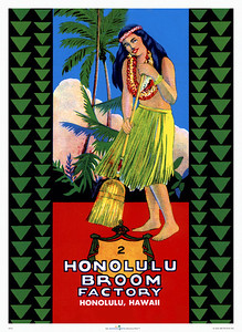 020: 'Honolulu Broom Factory' - Vintage Hawaiian Product Label depicting a hula dancer with a broom. Ca. 1935. The origins of this charming label were vague and begged the question if this was a product sold only locally, or could it have appealed to Mainlanders for its exotic origins? Imagine, a Forties' housewife with curlers picturing herself with her 'hula broom' in a grass skirt and little else... While contemplating this notion, we suddenly happened upon a display of Honolulu Broom Factory brooms at a local drugstore. The Honolulu Broom Factory was founded in 1923, the logo designed in 1935, and the brooms are still being produced by hand in a small factory in Honolulu. Don't you love it when history comes alive?