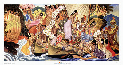 064: Eugene Savage: 'Aloha - Universal Word' Hawaiian Cruise Line menu Illustration, ca. 1948