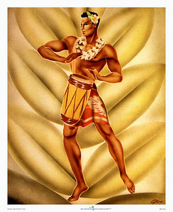 031: Hawaiiana artist Gill's airbrush painting, titled 'Hawaiian Drummer,' from the early 1940's. Unfortunately, as WWII enfolded, artist materials became of lesser quality and consequently few originals have been preserved. Yet, today Gill's work is regarded the most recognizable of the period. With his stylized renditions of Hawaiian figures this native of San Francisco still charms us today.