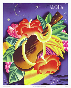 004: Frank Macintosh: 'Aloha Ukulele.' - You may have seen this retro art deco Ocean Navigation Company steam ship menu from ca. 1940 before as it is arguably one of Frank Macintosh's most popular designs, combining a ukulele, a flower lei, Hawaiian fruits and flowers into a romantic display that screams 'tropical Hawaiian paradise!