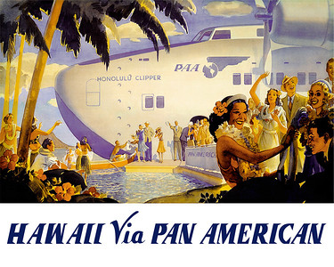 078: 'Hawaii Via Pan American' - Vintage Hawaiian Pan American Airline poster by Frank Macintosh, for PanAm, late 1930's, possibly commemorating the arrival of the first passengers on the famed China Clipper that made its maiden voyage to Hawaii 1n 1935.