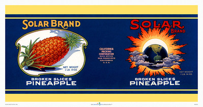 045: Solar Brand - Pineapple Can Label. Ca 1940's, showing the entire wrapping label for Solar Brand Broken Slices Pineapple with an interesting image of a sun and earth lineup complete with space clouds and lots of solar flares—vintage science at its best and no doubt creating ideal circumstances for Hawaiian pineapple growth, as evidenced by the big juicy pineapple picture. These types of vintage Hawaiian pineapple prints make great additions for any kitchen or dining area with or without a Hawaiian or tropical island theme. Sure to invoke shouts for a certain kind of desert.