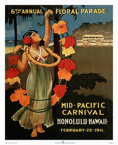 038: Mid Pacific Carnival Festival Poster from 1911. We see it as our duty to point out to you that the wahine in the picture is bare-breasted. No doubt, the artist must have regretted that modern times (and the missionaries) had introduced less revealing dress to the islands of paradise and got this lady into what looks more like ancient Greek apparel. A prime example of Hawaiiana.