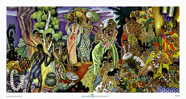 068: Eugene Savage 'Island Feast' Vintage Hawaiian cruise liner menu illustration (ca. 1948)