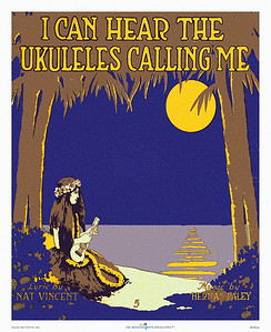 084: 'I Can Hear The Ukuleles Calling Me' Sheet Music Cover, ca 1916 Words: Nat Vincent Music: Herman Paley Jerome H. Remick, New York .