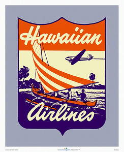 036: Vintage Hawaiian Airlines Logo, ca. 1948. This vintage Hawaii airline poster was created from a Hawaiian Airlines label, and features a DC-3 flying over a windy Hawaiian island coast with a sailing outrigger canoe in the foreground.