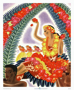 003: Frank Macintosh: 'Lei Vendor'. Vintage Hawaii cruise ship menu art. Macintosh's lei vendor appears to be carried around on a float that also features three hula dancers and an ornamental display of Hawaiian flowers. This image captures part of the magic of Hawaii so well that it is just as populair today as it was in the Forties when it was first released.
