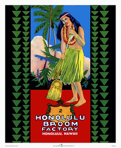 020: 'Honolulu Broom Factory' - Vintage Hawaiian Product Label depicting a hula dancer with a broom. Ca. 1935. The Honolulu Broom Factory was founded in 1923, the logo designed in 1935, and the brooms are still being produced by hand in a small factory in Honolulu. Don't you love it when history comes alive?