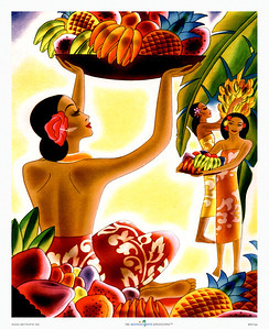 001: Frank Macintosh: 'Fruit Harvest'. This Frank Macintosh (sometimes wrongly spelled Frank McIntosh) Hawaii cruise ship menu cover from ca. 1940 belongs to a series of menus he designed which were used on navigational routes between the US mainland and Hawaii.