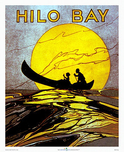 047: 'Hilo Bay' - Vintage Hawaiian Music Cover, ca. 1935, now a great retro Hawaiian print or poster. Check also our line of products emblazoned with the same vintage Hawaiian sheet music illustration at http://www.cafepress.com/hawaiiandays