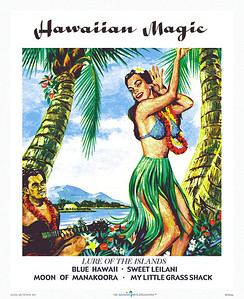 "008: ""Hawaiian Magic"" - Vintage Hawaiian sheet music cover. Ca. 1946. Several times during the first half of the last century Hawaiian-style music was all the rage. Certainly, little has changed, as guitar-strumming men still sing the praise of the Hawaiian 'wahine!'"