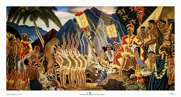 069: Eugene Savage: 'Pomp & Circumstance' Eugene Savage Hawaiian Cruise Line menu Illustration, ca. 1948
