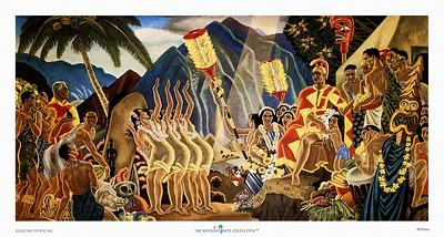 069: Eugene Savage: 'Pomp & Circumstance' Eugene Savage Hawaiian Cruise Line menu Illustration, ca. 1948