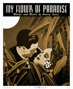 089: Vintage Hawaiian music cover art, titled 'My Flower Of Paradise' by LaSalle. Ca. 1937