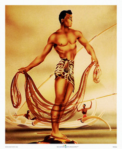 028: 'Hawaiian Fisherman (or 'Hawaiian Net Fisher')' by Gill, created as a diptych during the early 1940's. The art of the never fully identified artist Gill reflects a time period of Hawaiiana during which several artists began employing a method of air brushed stenciling. Through layering complex textures were achieved. Unfortunately, as WWII enfolded, artist materials became of lesser quality and consequently few originals have been preserved. With his stylized renditions of Hawaiian figures this native of San Francisco charms today's viewer as much as those during his heydays!