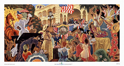 067: Eugene Savage: 'Hawaii's Decisive Hour' Hawaiian Cruise Line menu Illustration, ca. 1948