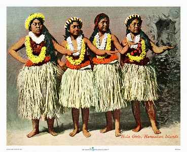 035: Vintage Hula Dancers Postcard, ca. 1915. Charming picture of vintage hula girls from the days of hand-colored postcards and photographs. No doubt these girls and their mothers made many a sailor decide to jump ship and start a grass shack of his own. That's what's so great about Hawaiiana: there's a story in every picture. His story. Her story. Their story. Our story. They're all about falling in love and finding a spot to make your bed. Why not make these girls immortal with a place in your bedroom, den, or guest room?