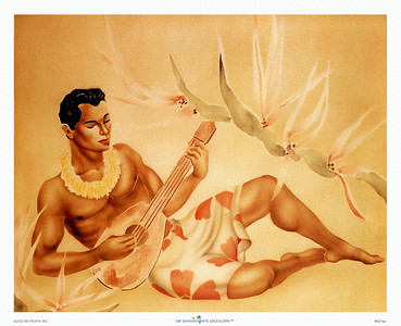 027: Gill: Ukulele Player. Ca. 1940's. Classic Gill image of a relaxed Hawaiian male ukulele player surrounded by Hawaiian flora. This reclining ukulele player, created in the 1940's by the Californian artist Gill, has since become one of the most popular retro Hawaiian images.
