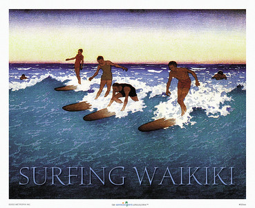 029: 'Surfing Waikiki,' from a Bartlett Woodblock print. ca 1930's, showing Waikiki surfers in action on their classic longboards in the first half of the last century against the backdrop of a Pacific sunset. Hawaiian Days is the premier publisher of vintage Hawaiian surfing prints and surf posters, such as 'Surfing Waikiki.'