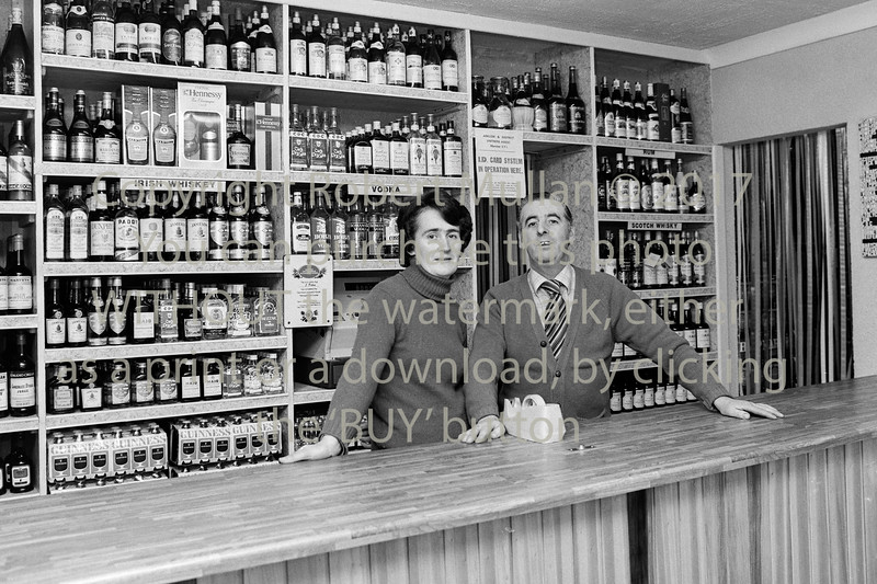 Maisy and John Dillon in their public house on Main St, Arklow.  Circa  1980