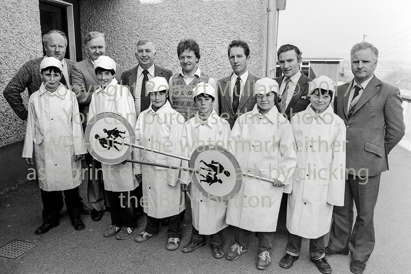 Junior Traffic Wardens at Arklow Boys' National School. Included are Michael O'Callaghan, Tom Honan, Sgt John O'Leary, Jimmy Fitzmaurice and David Rynn.  Circa 1980