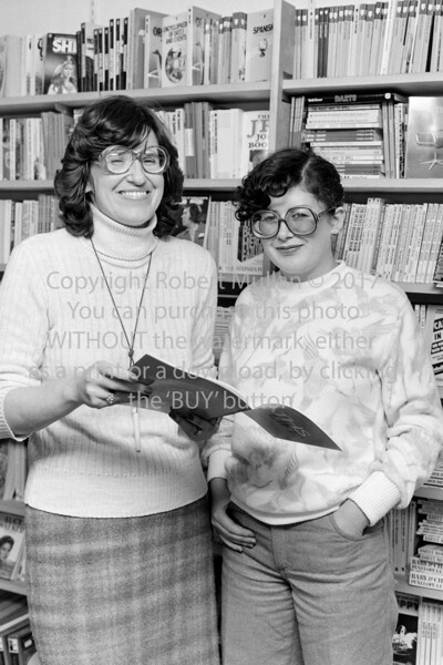 Jette Parr and Mary O'Neill in 'The World of books, Main Street, Arklow.  Circa 1980